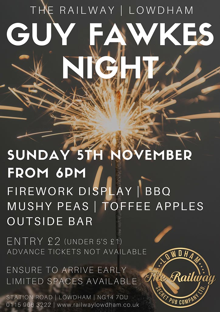 Bonfire Night Railway Lowdham Nottingham Restaurant