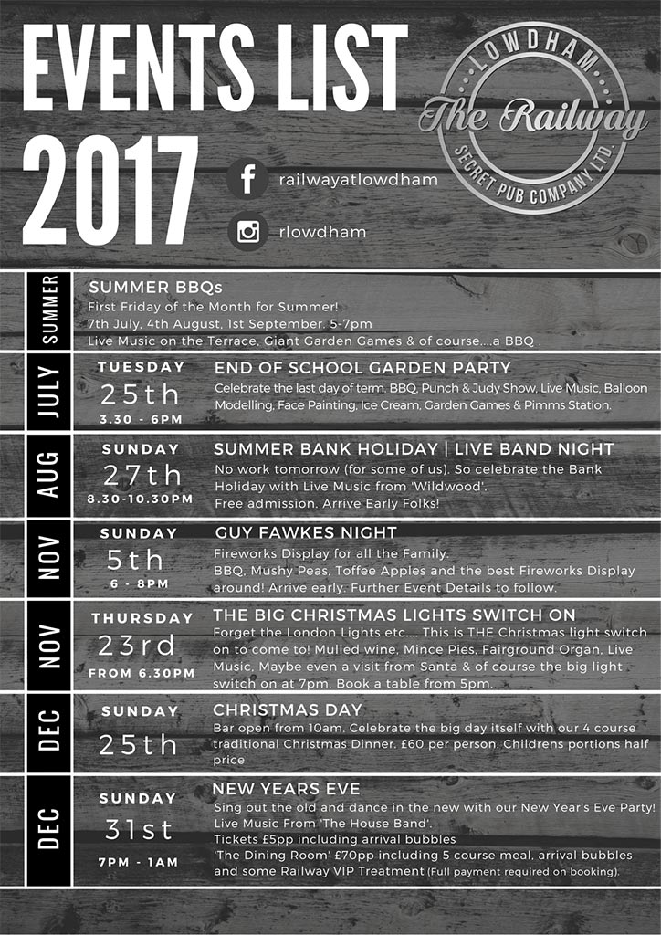 Event List for Railway Lowdham Nottingham 2017